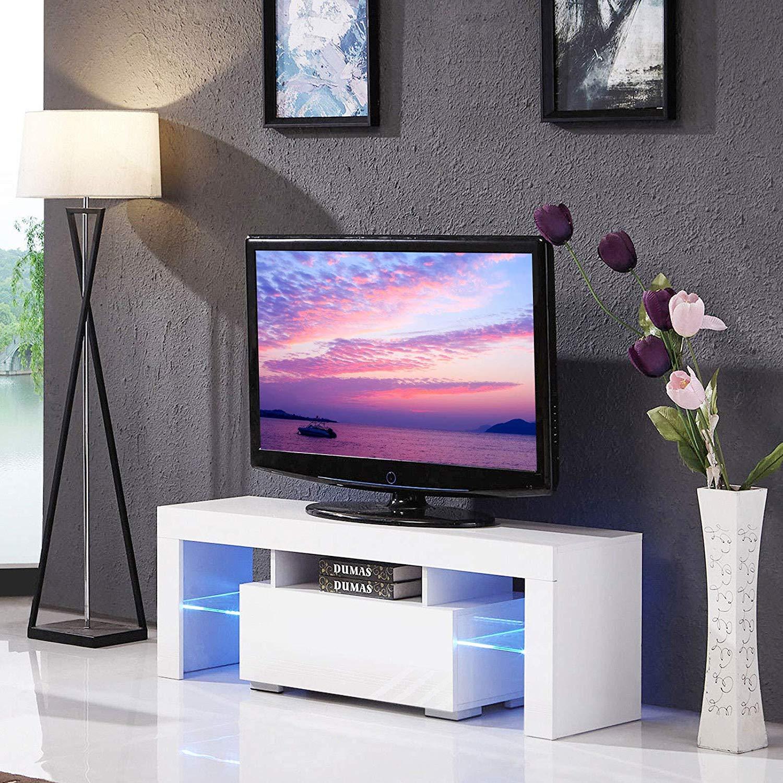 Cocoarm Mobile Porta TV Moderno in Legno Bianco Lucido con LED e Cassetto, 138x45x14 cm, 110V-240V Wizerry