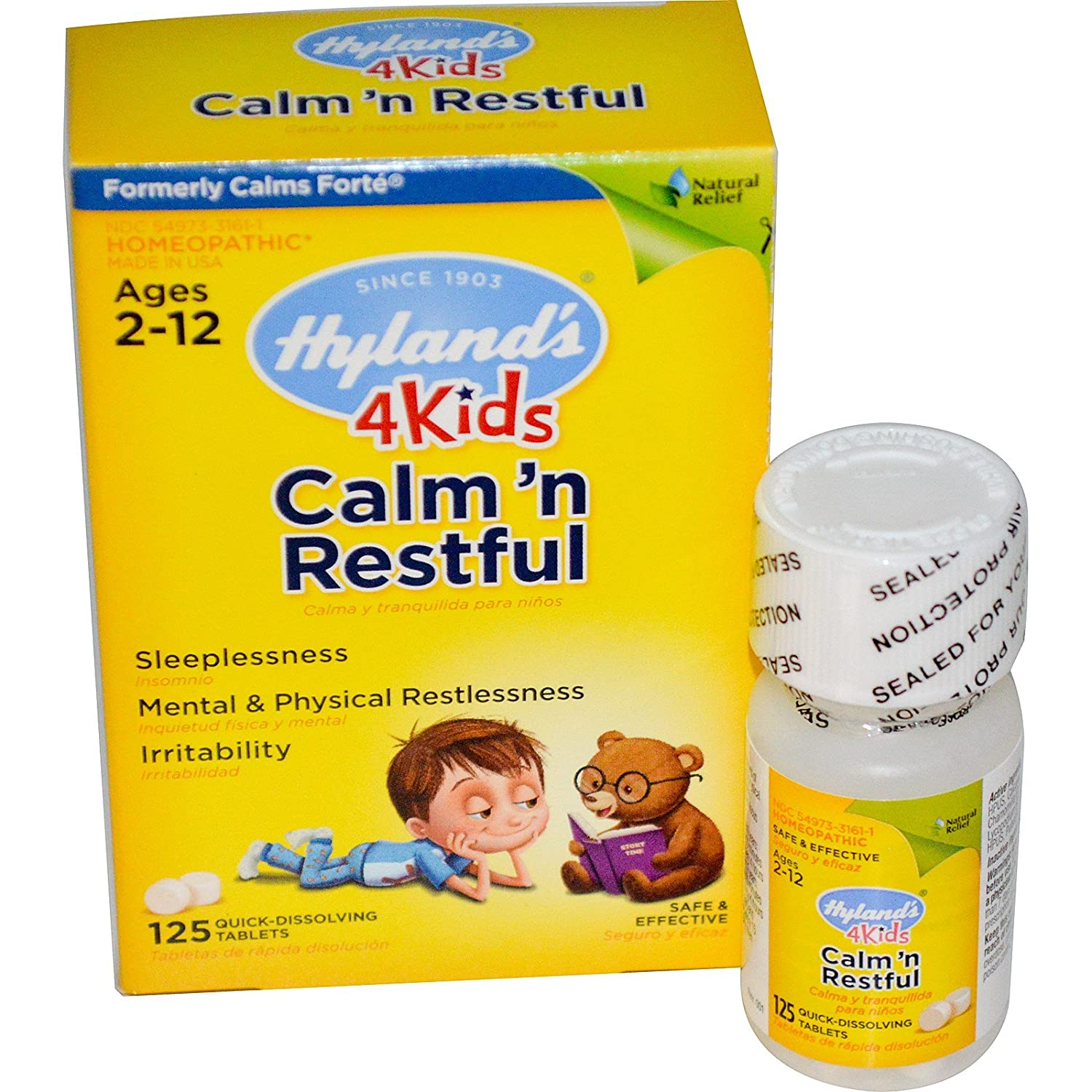 Amazon.com : Hylands, Calm n Restful 4 Kids, 125 Quick-Dissolving Tablets - 2pc : Grocery & Gourmet Food