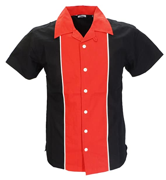 Relco Mens Rockabilly Bowling Black Red Shirts Amazon Co Uk Clothing
