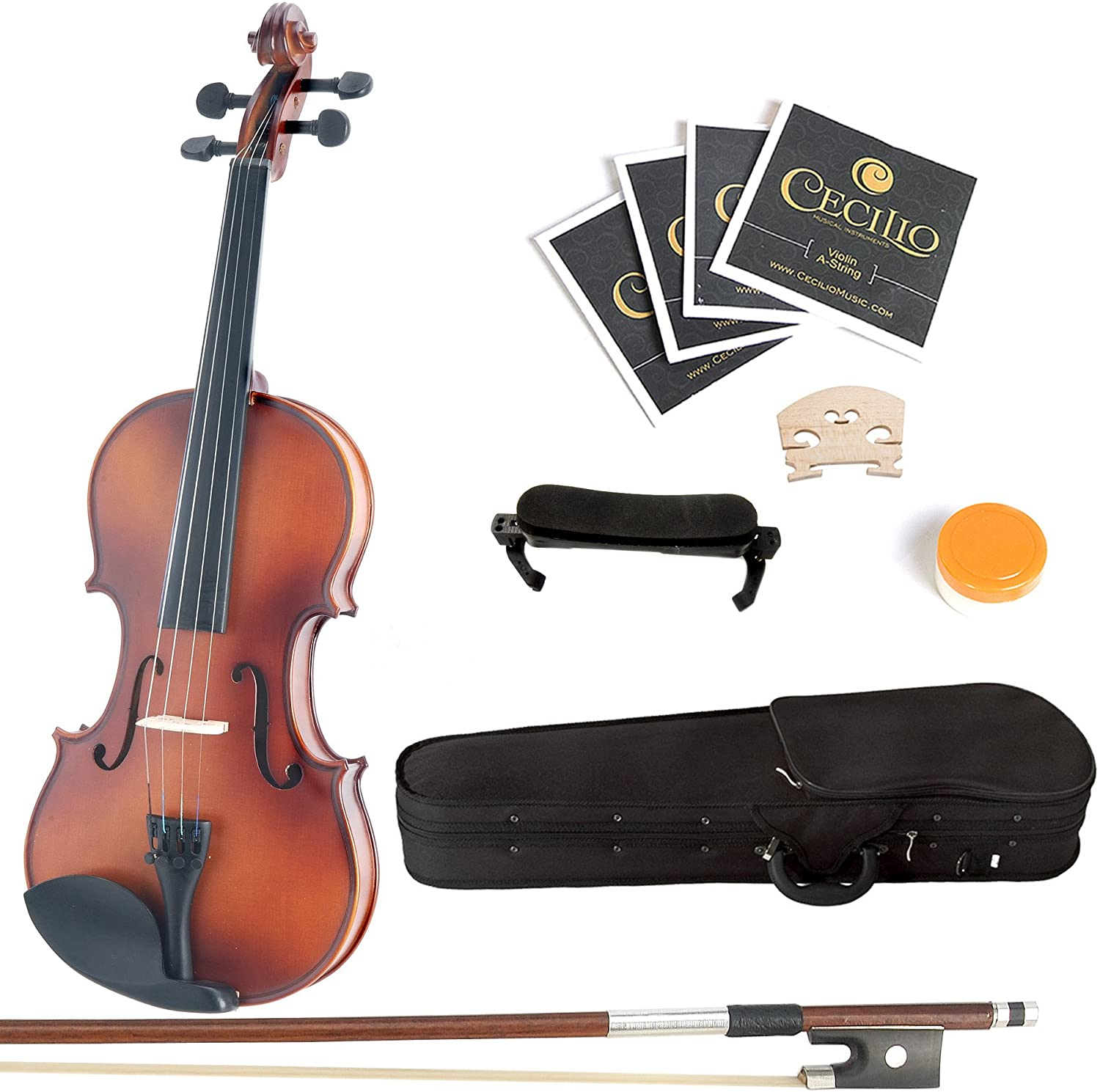 Amazon.com: Mendini Solid Wood Violin with Hard Case, Bow, Rosin and Extra Strings (4/4, Antique): Musical Instruments