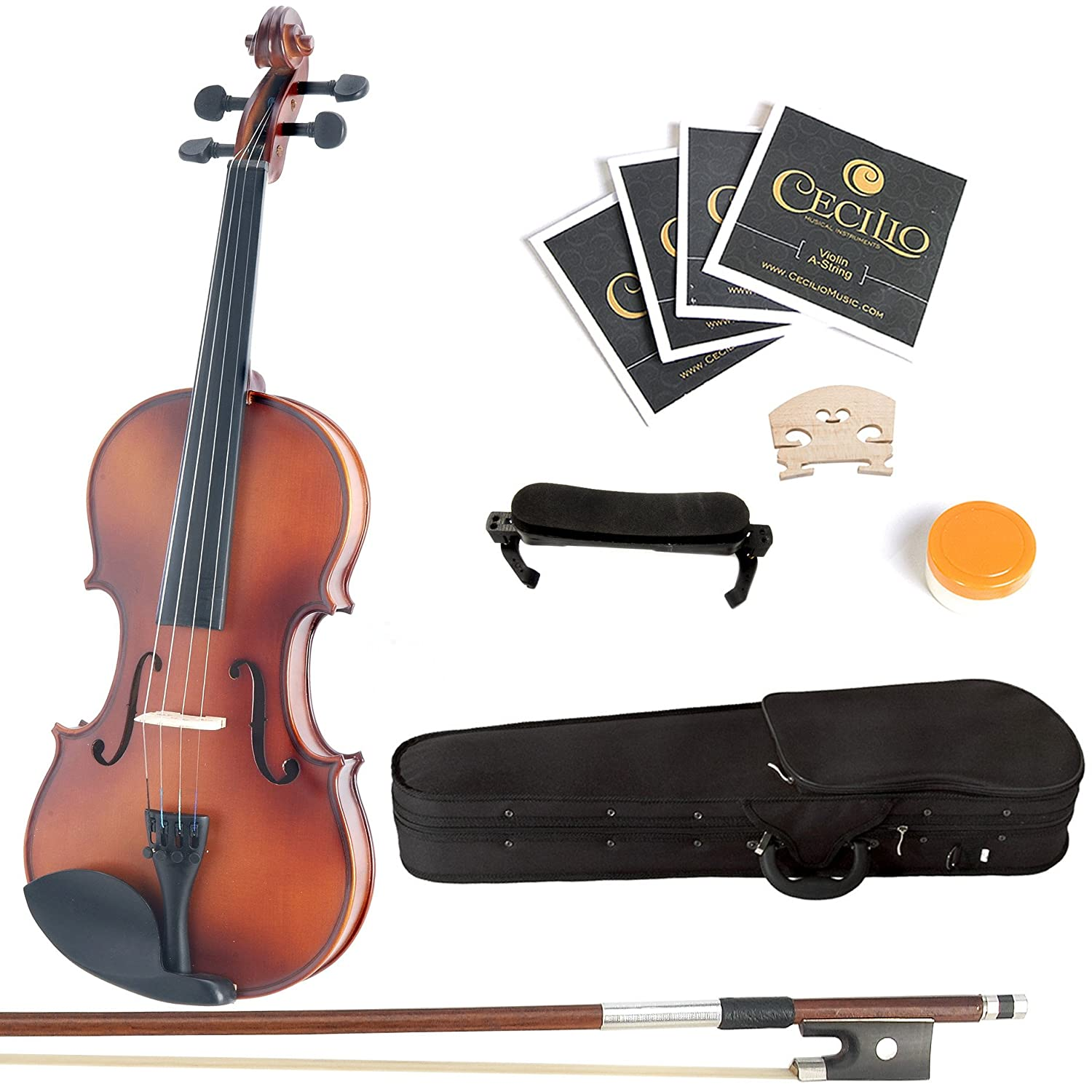 Mendini 1/10 MV300 Solid Wood Satin Antique Violin with Hard Case, Shoulder Rest, Bow, Rosin and Extra Strings 1/10MV300