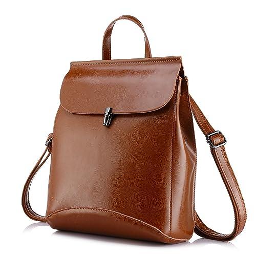 Realer Bolsos de cuero genuino mochilas para mujer bolso de hombro Color fangoso: Amazon.es: Zapatos y complementos