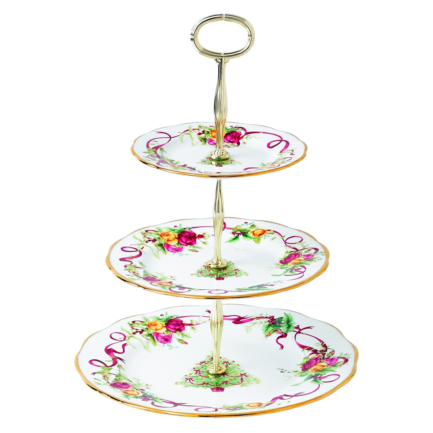 Amazon.com | Old Country Roses Christmas Tree 3-Tier Cake Stand Royal Albert Christmas Cake Stands  sc 1 st  Amazon.com & Amazon.com | Old Country Roses Christmas Tree 3-Tier Cake Stand ...