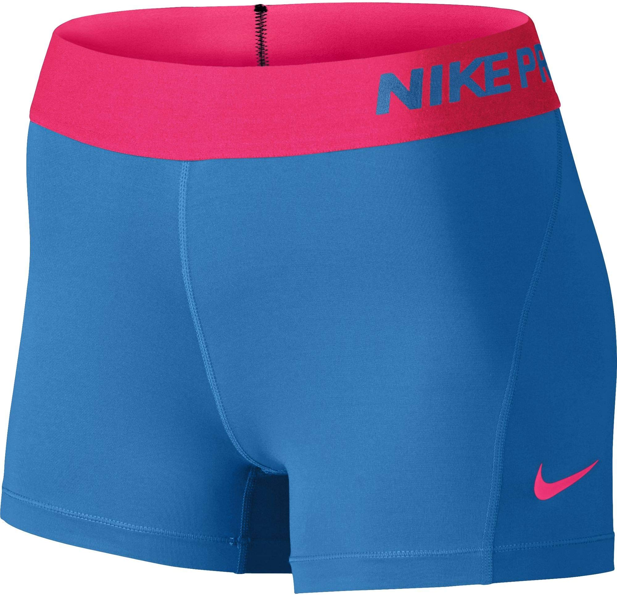 Nike Women's Pro Cool 3-Inch Training Shorts (Lt Photo Blue/Hyper Pink/Hyper Pink/X-Small)