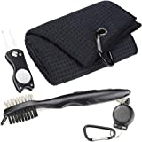 Mile High Life Microfiber Waffle Pattern Golf Towel | Club Groove Cleaner Brush | Foldable Divot Tool with Magnetic Ball Mark