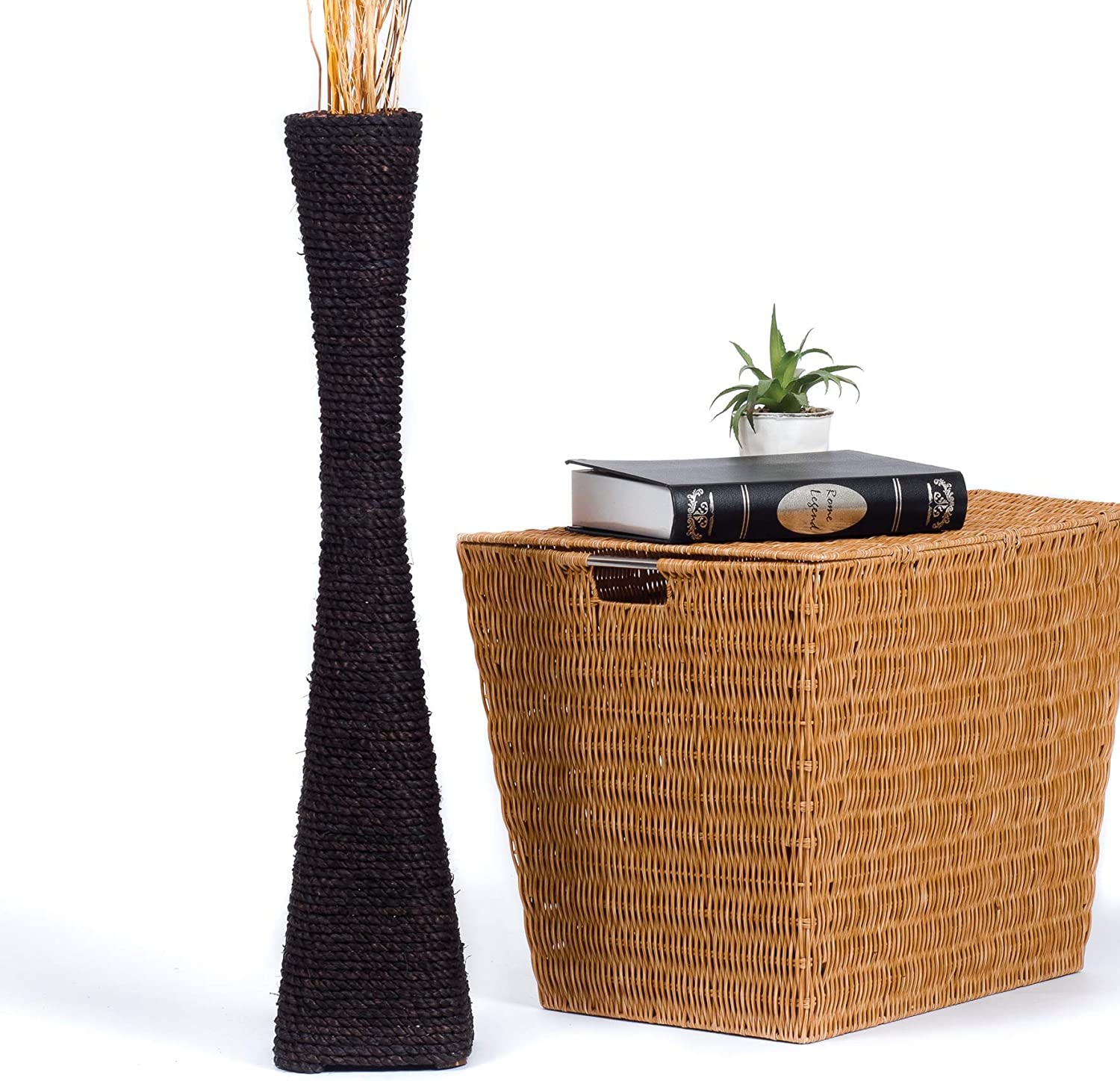 Leewadee Tall Big Floor Standing Vase for Home Decor 30 inches, Water Hyacinth, Black