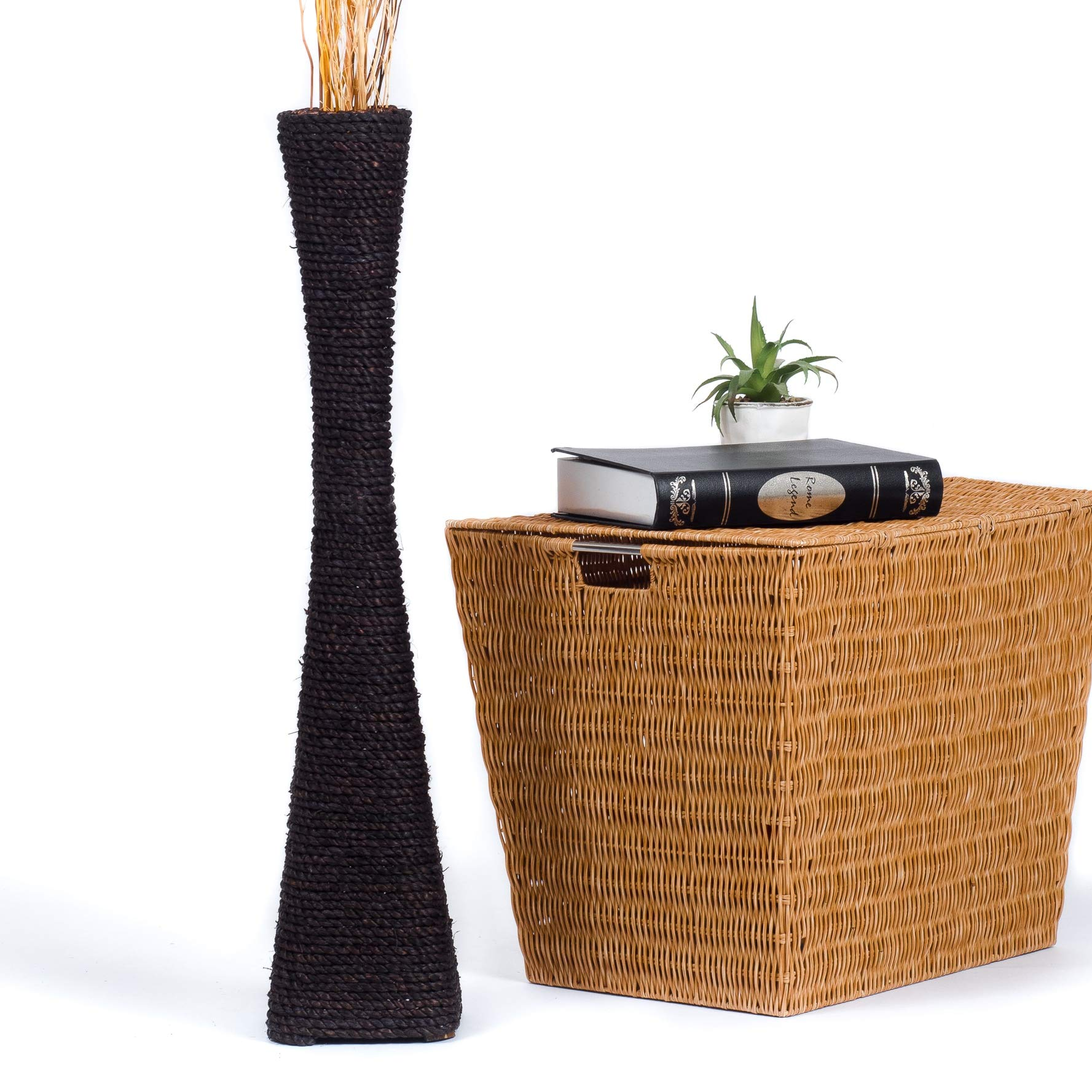 CDM product Leewadee Tall Big Floor Standing Vase for Home Decor 30 inches, Water Hyacinth, Black big image