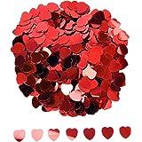 Confetti Cuore Metallica Lamina Coriandoli Cuori Glitter Lustrino Paillettes per San Valentino Nozze Festa Decorazione di Tavola, Rosso, 10 mm, 1 Oncia