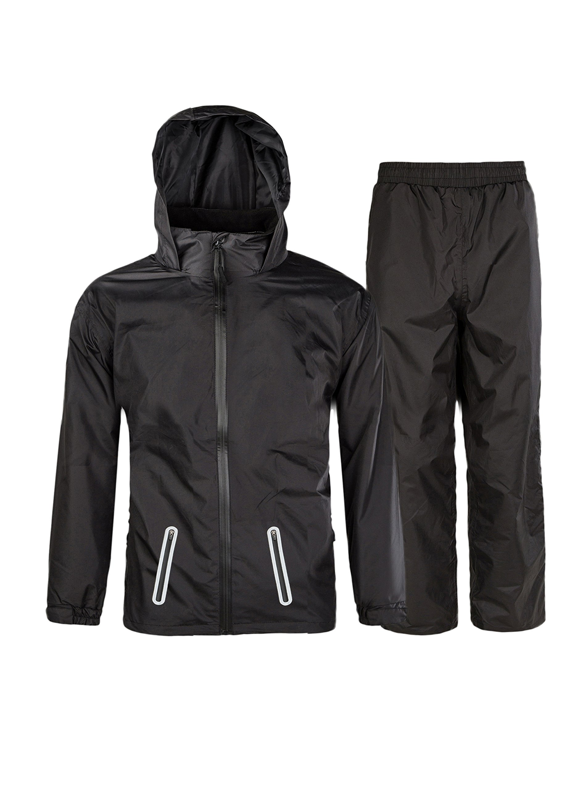 SWISSWELL Hooded Rain Suit for Kids Black Size 10