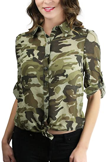 49a2cb0c ToBeInStyle Women's Camo Chiffon Self Tie Button Down Shirt - D Olive -  Small at Amazon Women's Clothing store: