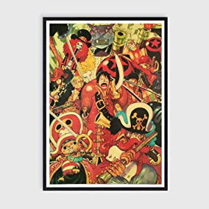 Toomilki One Piece Posters Craft Paper Art Print of Straw Hat Pirate Crew Home Wall Decor, 20in x 14in, No Frame