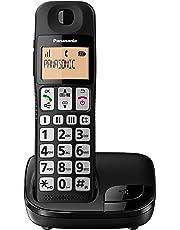 Panasonic KX-TGE110JTB Telefono Cordless Digitale (DECT) Singolo ad Utilizzo Facilitato, Tasti Grandi, 3 Tasti di composizione rapida, Compatibilità con Apparecchi Acustici, Nero