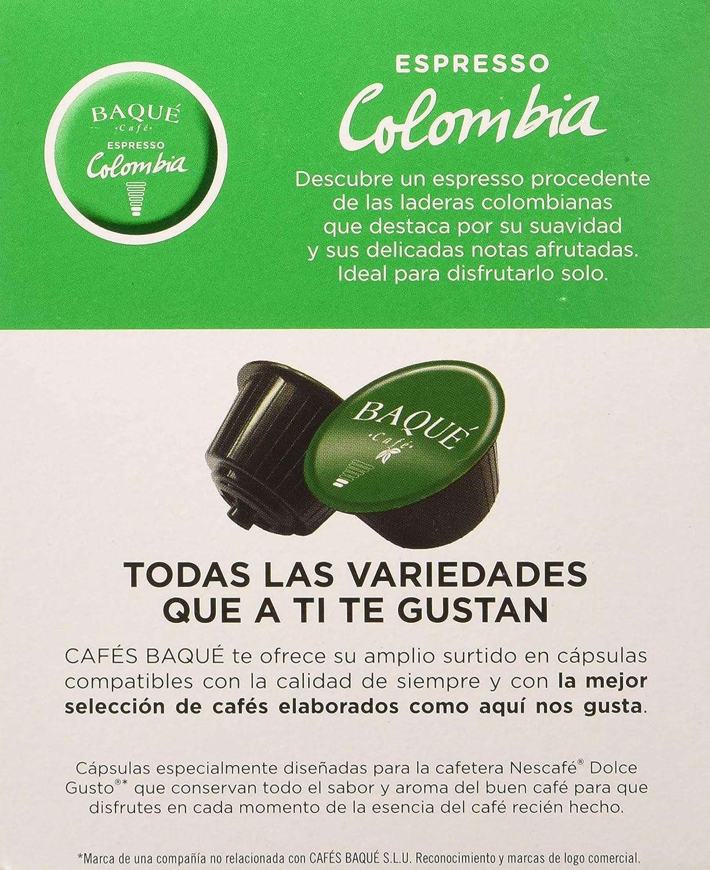 Cafés Baqué 10 Capsulas Compatibles Dolce Gusto Espresso Colombia 157 g