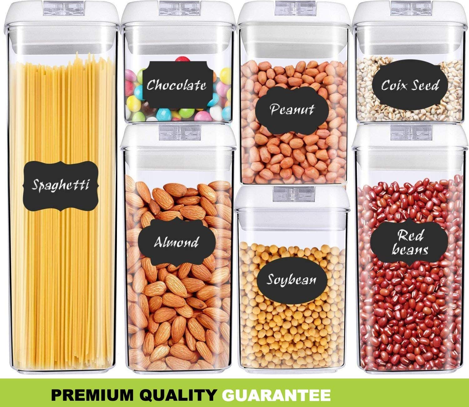 Airtight Food Storage Containers - [Upgraded] Cereal Container Set with Lids [Set of 7] - Clear BPA Free Plastic for Kitchen Pantry Organization - Bonus Labels & Marker Included - Crown Equipments