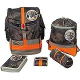 School-Mood sac à dos d'écolier Art. 6101–69–607Marron 950g incl. Sac de sport, Trousse, stif Thé Tuit