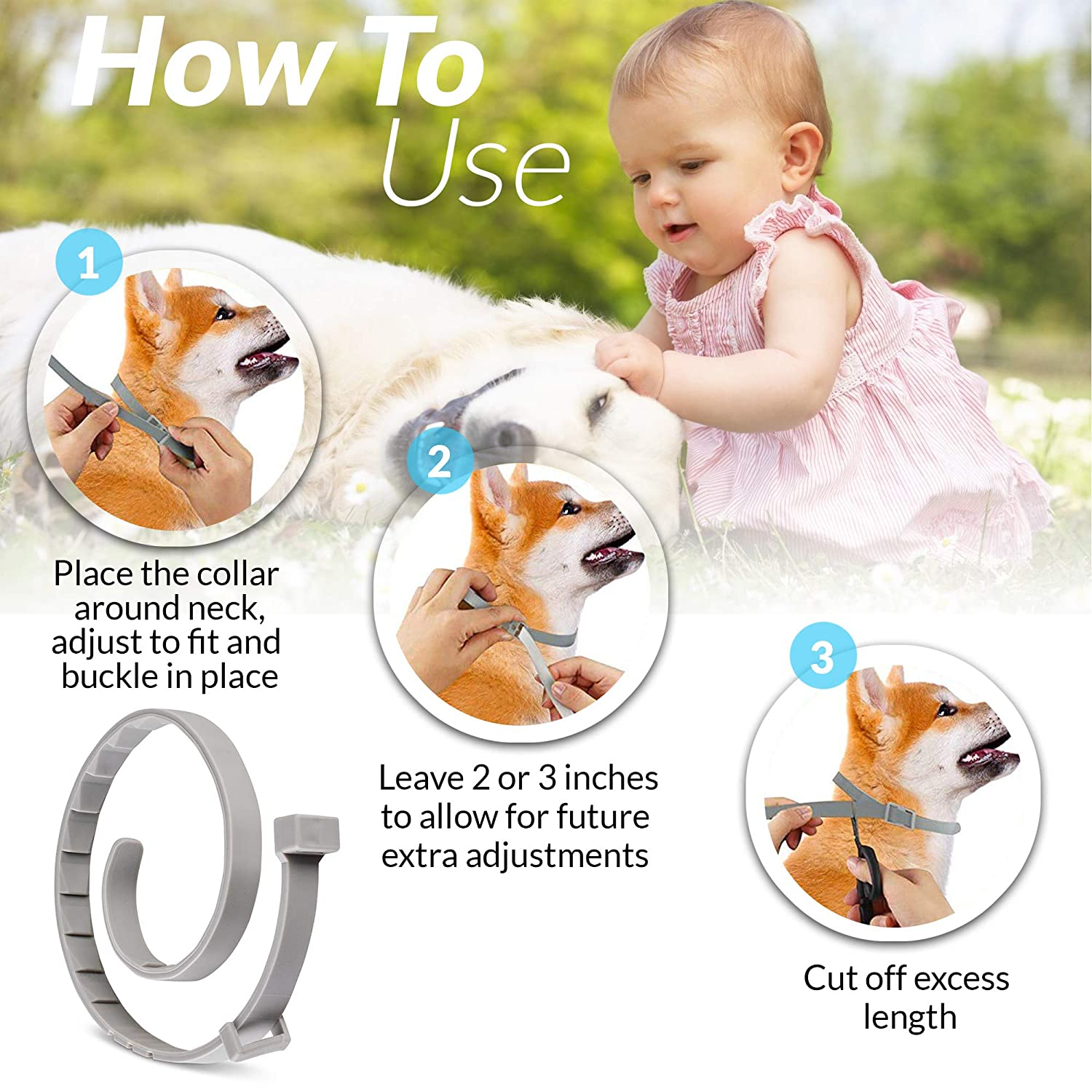 Tanness Flea and Tick Collar for Large and Small Dogs 15 Hypoallergenic and Waterproof Tick Prevention and Flea Control Dog Collar for 8 Months of Protection