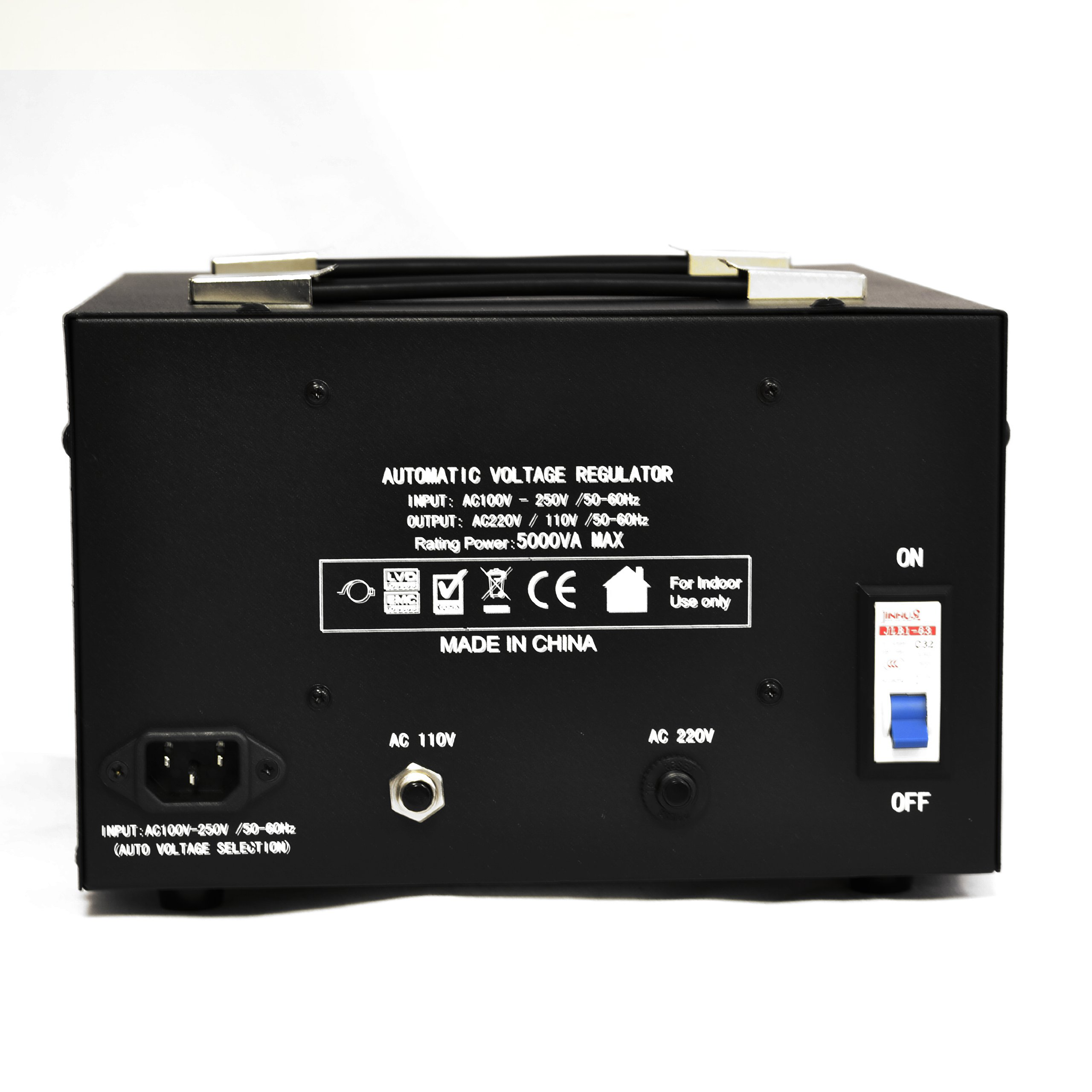 LiteFuze 5000 Watt Voltage Converter Transformer Heavy Duty Regulator Meter - Step Up/Down - 110/120/220/240 Volt - Fully Grounded Cord - Universal Output Sockets by LiteFuze (Image #2)