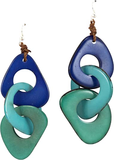 Organic Tagua  Dangle Earrings Ecuador Turquoise
