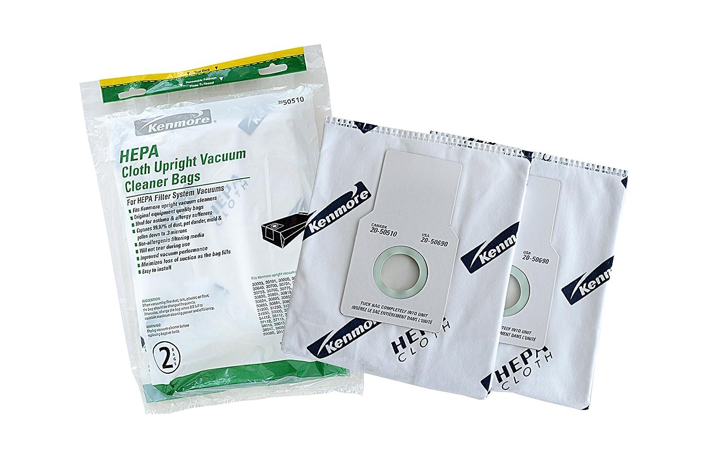 Kenmore 50510 HEPA Vacuum Bags. Designed to fit Kenmore Upright Vacuum Cleaners. Package of 2 HEPA Bags