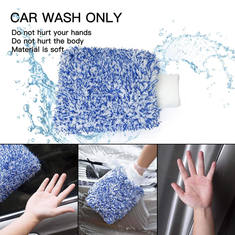 Guante Suave para Lavado de Autos Azul Bambud Guantes Coral Fleece Clean Soft Coral Car Wash Mitt Guante Impermeable Guantes Coche Limpieza 1Pcs Fibra Superfina Limpieza de Autos