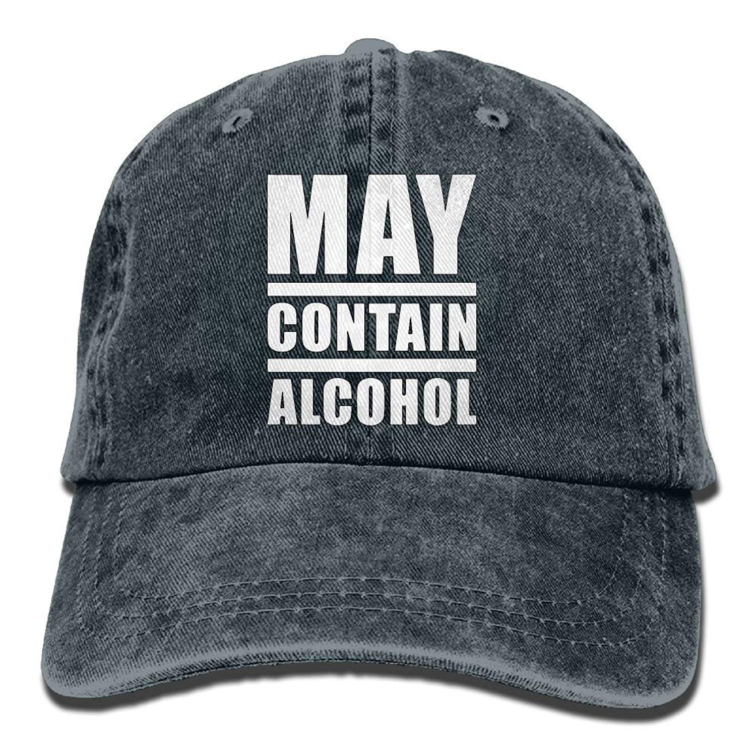 Unisex May Contain Alcohol Yarn-Dyed Denim Baseball Cap Adjustable Outdoor Sports Cap for Men Women JTRVW Cowboy Hats