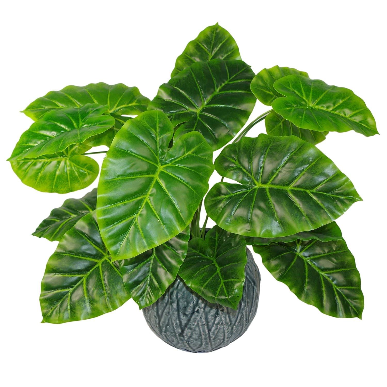 Leaf Planta Artificial Japonesa de 60 cm con dise/ño de Hojas Maceta de pl/ástico Negro