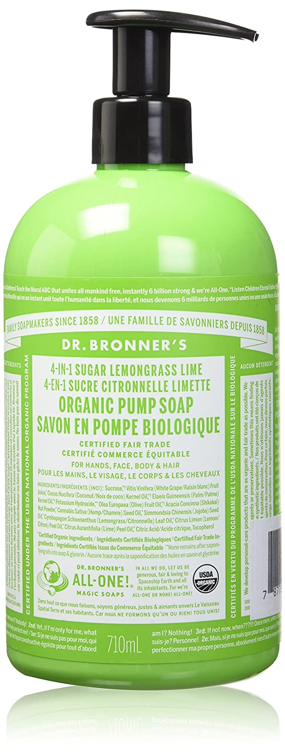 Dr. Bronner's Organic Lemongrass Lime Sugar Soap. 4 In 1 Organic Pump Soap For Home And Body (24 Oz) by Dr. Bronner's