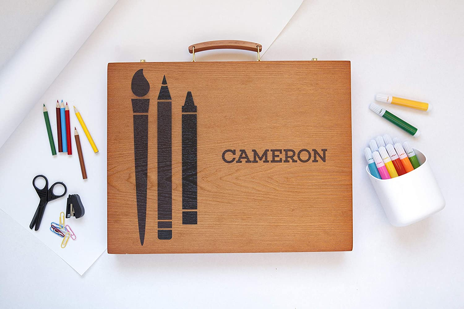 Personalized Wooden Case Art Supplies For Kids 150 Piece Arts And Craft Gift Set For Kids Artists Art Kit In Wooden Box Mason Design Box