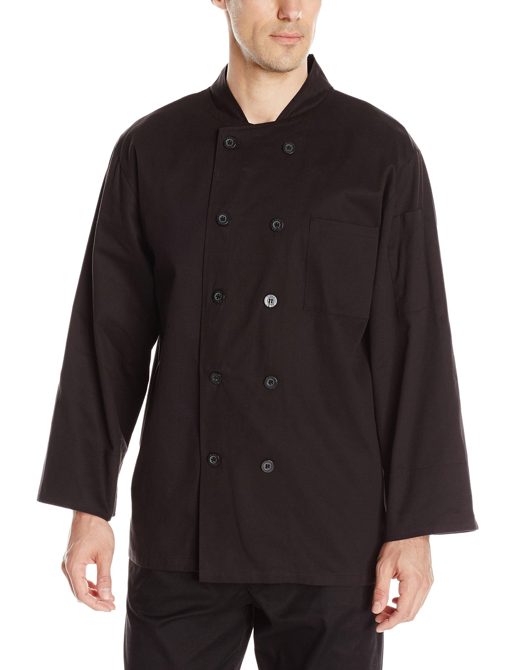 Chef Code Men's Classic 100% Premium Cotton Long Sleeve Coat, Black, X-Large