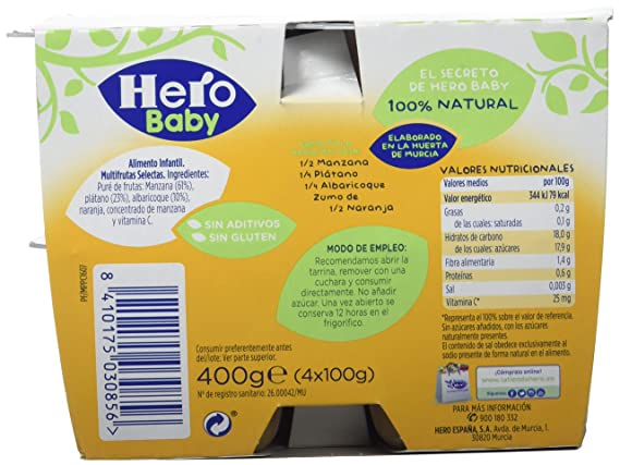 Hero Baby Todofruta Multifruta, Tarrina de Plástico 400 gr - Pack de 6 (Total 2400 grams): Amazon.es: Alimentación y bebidas