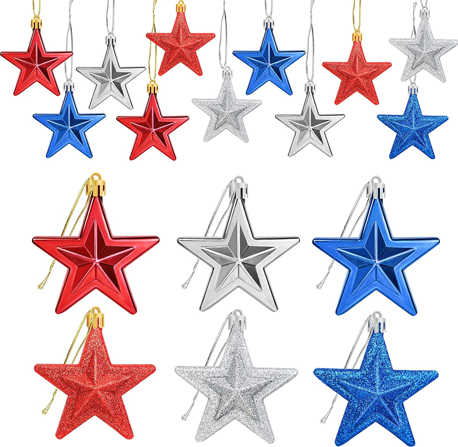 24Pcs 4th of July Patriotic Star Ornaments - Fourth of July Patriotic Decorations - Red Blue Silver Star Shaped Baubles Ornament for Home Tree - 4th of July Patriotic Party Home Star Hanging Ornament
