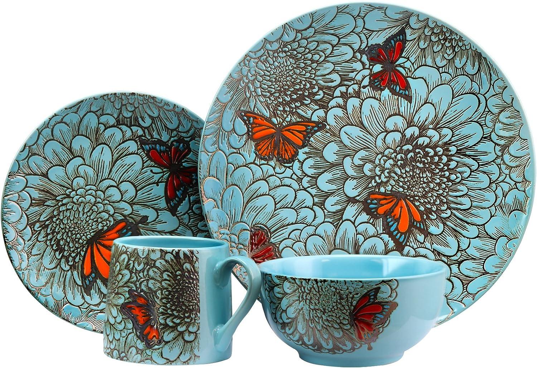 Elama Elm Butterfly Garden 16pc Dinnerware Dinnerware Sets
