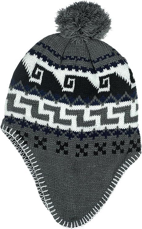 cab0b1185 Polar Wear Boys Micro-Fleece Lined Knit Hat with Ear Flaps & Pom Pom ...
