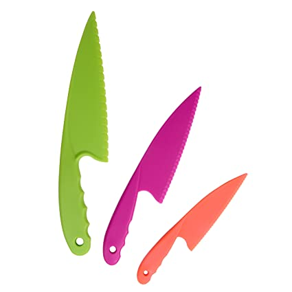 Plastic Kitchen Knife Set of 3 in 3 colors for Kids with Flexible Plastic  Cutting Board Mats set of 4 Colors. Safe Nylon Cooking Knives and Cutting  ...