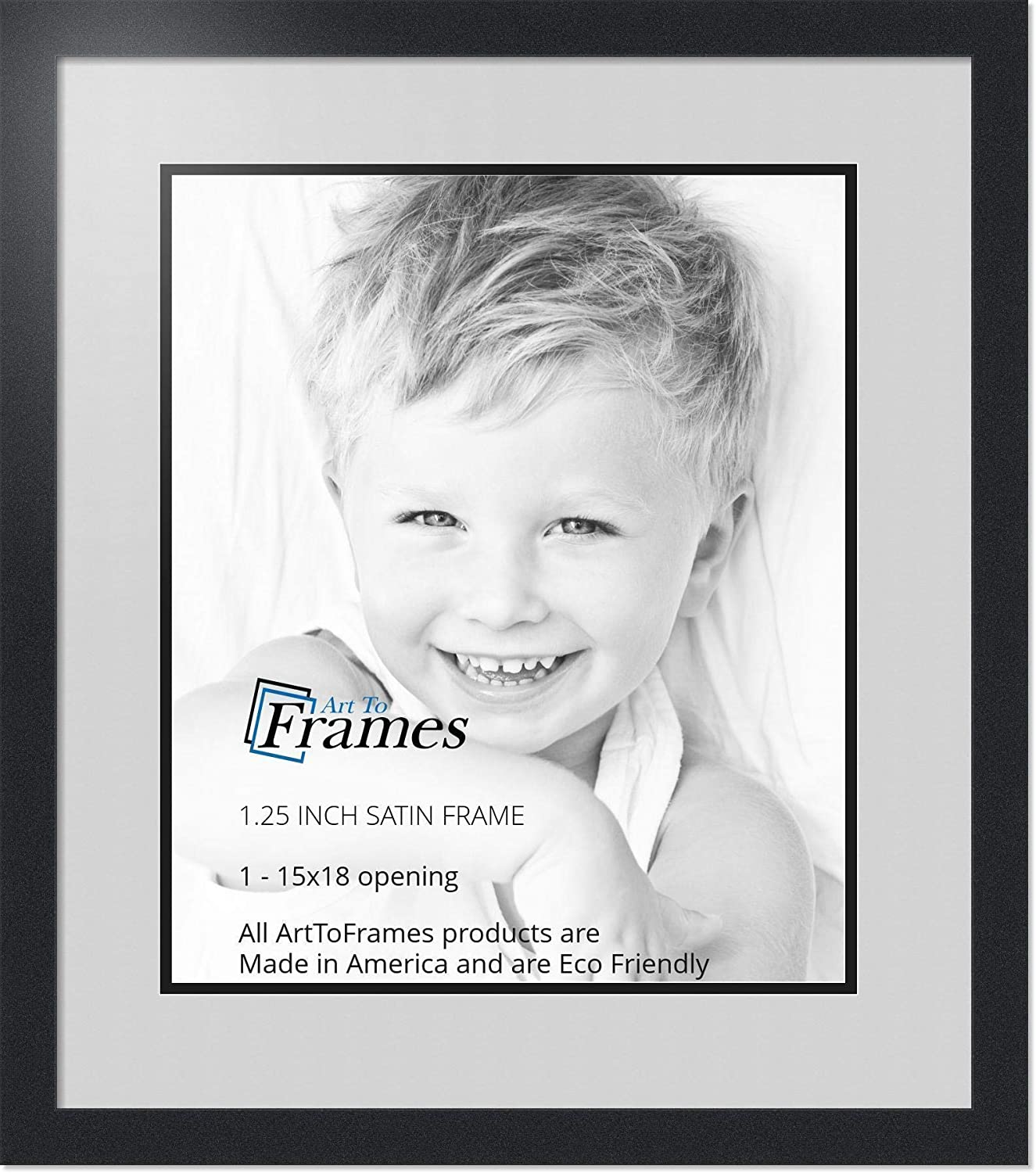 Art to Frames Double-Multimat-663-756/89-FRBW26079 Collage Photo Frame Double Mat with 1-15x18 Openings and Satin Black Frame