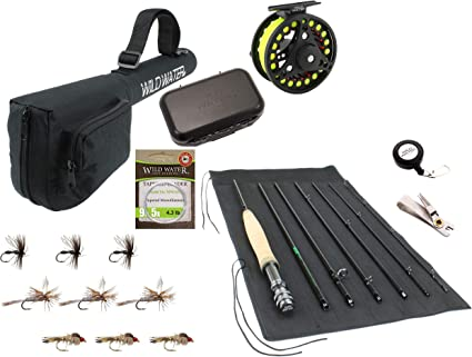 Amazon Com Wild Water Fly Fishing 9 Foot 7 Piece 5 Weight Fly Rod Complete Fly Fishing Rod And Reel Combo Starter Package Sports Outdoors