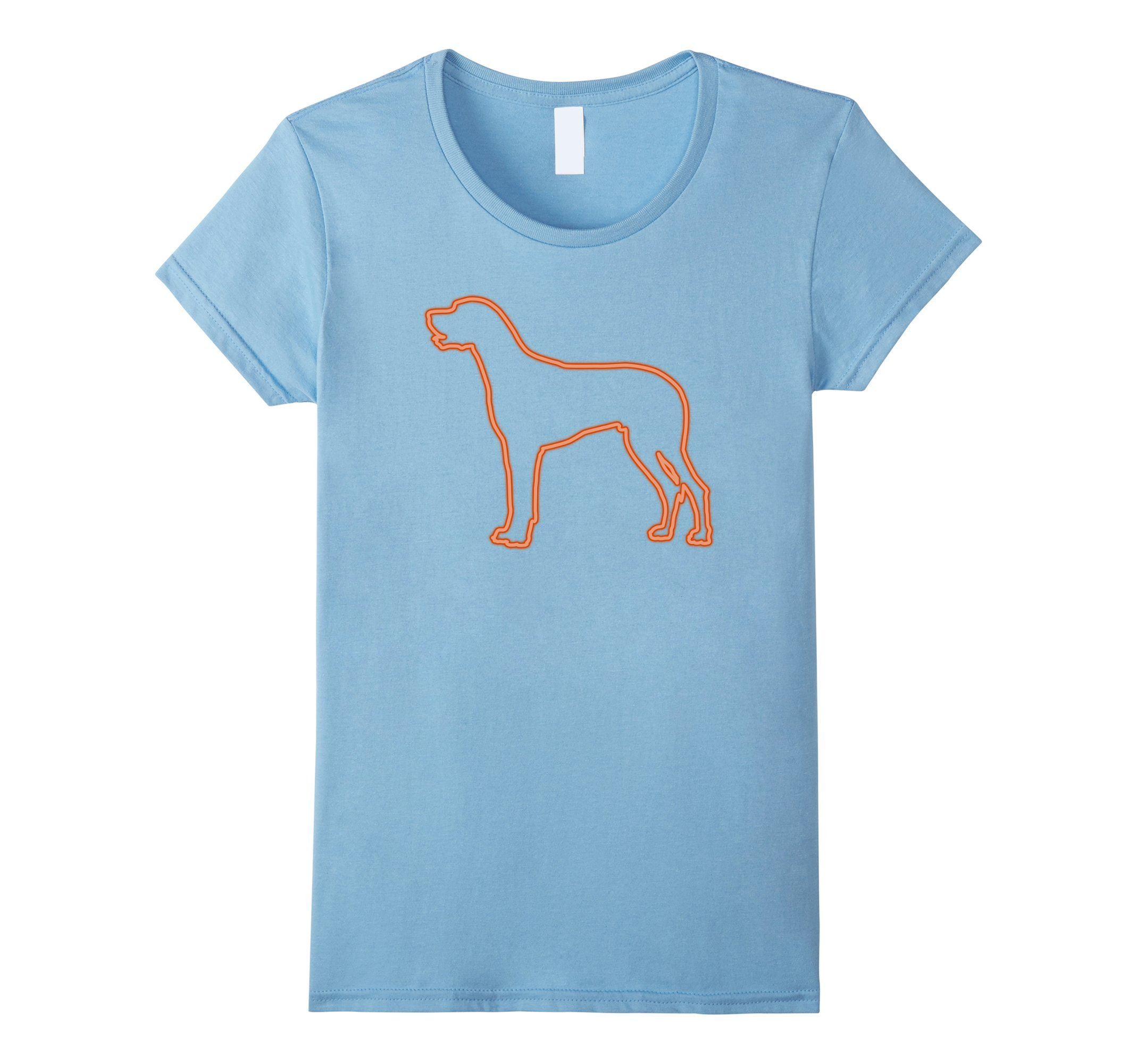 Womens 80s Retro Neon Sign Great Dane T-Shirt. 80's Gift XL Baby Blue