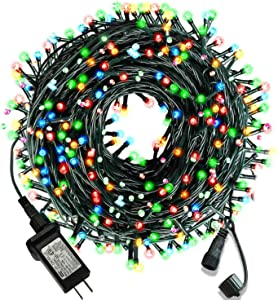 105ft 300 LED Christmas String Lights, End-to-End Plug 8 Modes Christmas Lights - UL Certified - Outdoor Indoor Fairy Lights Christmas Tree, Patio, Garden, Party, Wedding, Holiday, (Colored)