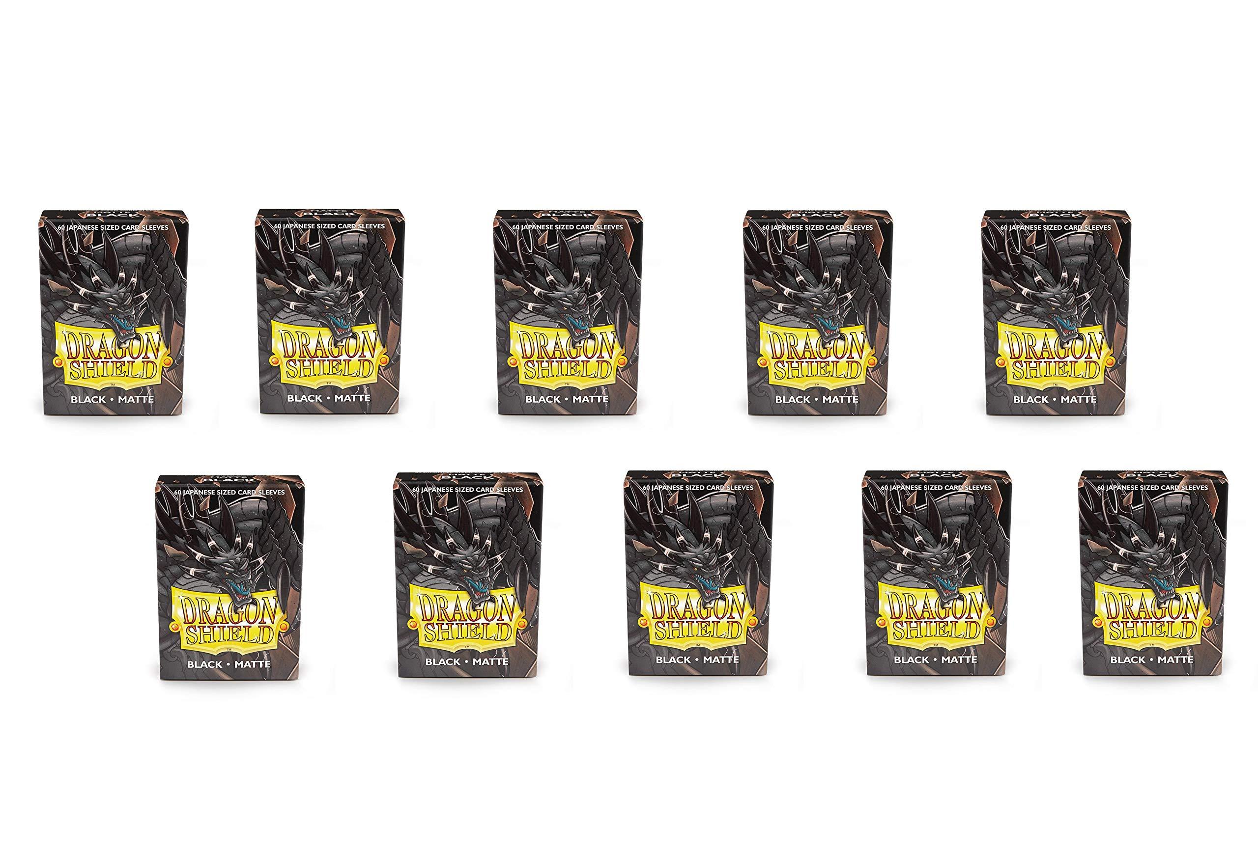 10 Packs Dragon Shield Matte Mini Japanese Black 60 ct Card Sleeves Display Case