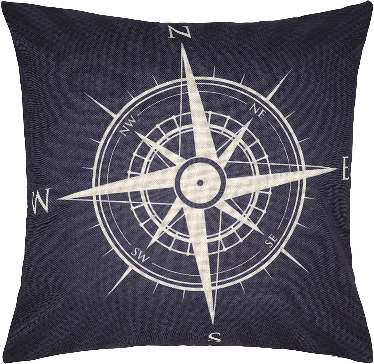 NAVIBULE Nautical Decor Throw Pillow Cover North South West East Words Compass Navigation Pillowcase Decorative Cushion Cover for Couch Bed Home 18x18 Inches Black and Gray