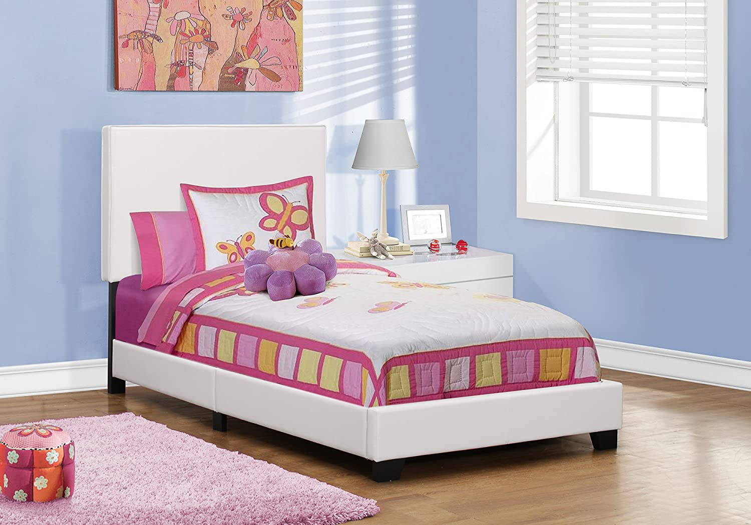 White Monarch Specialties I 5912T Bed with Leather Look Fabric, Twin, Grey