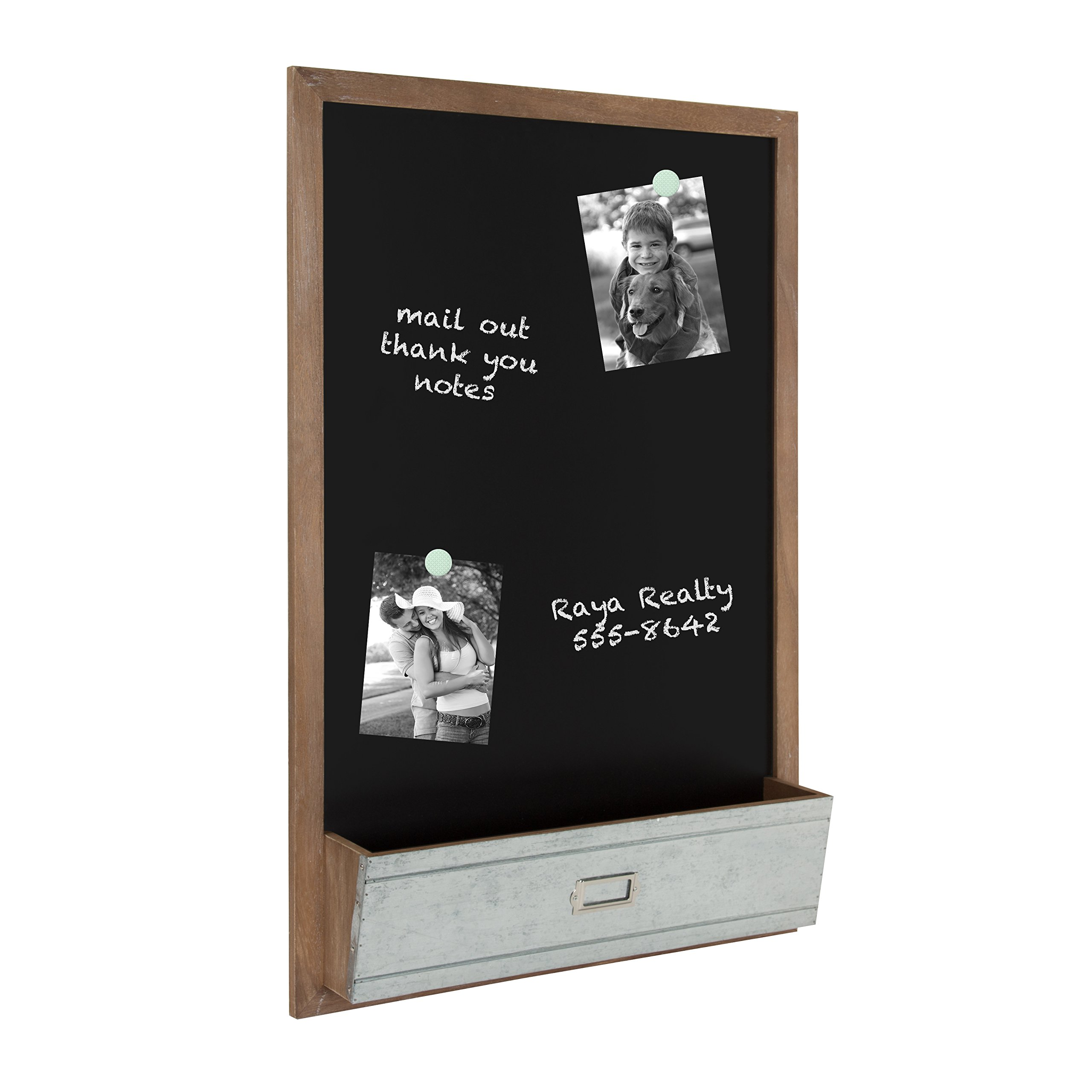 Kate and Laurel Industrious Wood Framed Magnetic Chalkboard with Pocket, Rustic Brown and Galvanized Metal