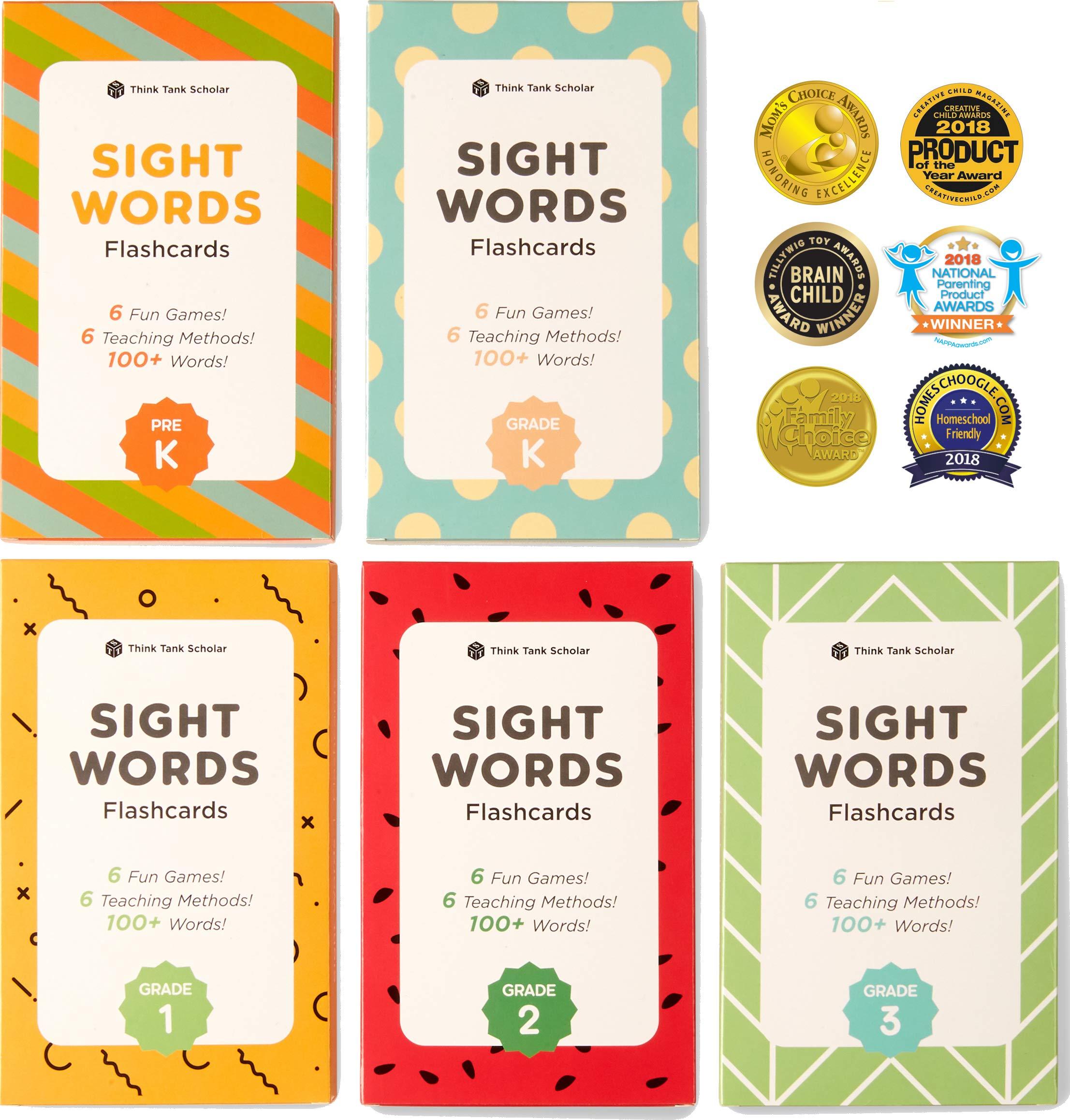 Think Tank Scholar 500+ Sight Words Flash Cards Bundle Kit (Preschool, Kindergarten, 1st, 2nd & 3rd Grade) by Think Tank Scholar