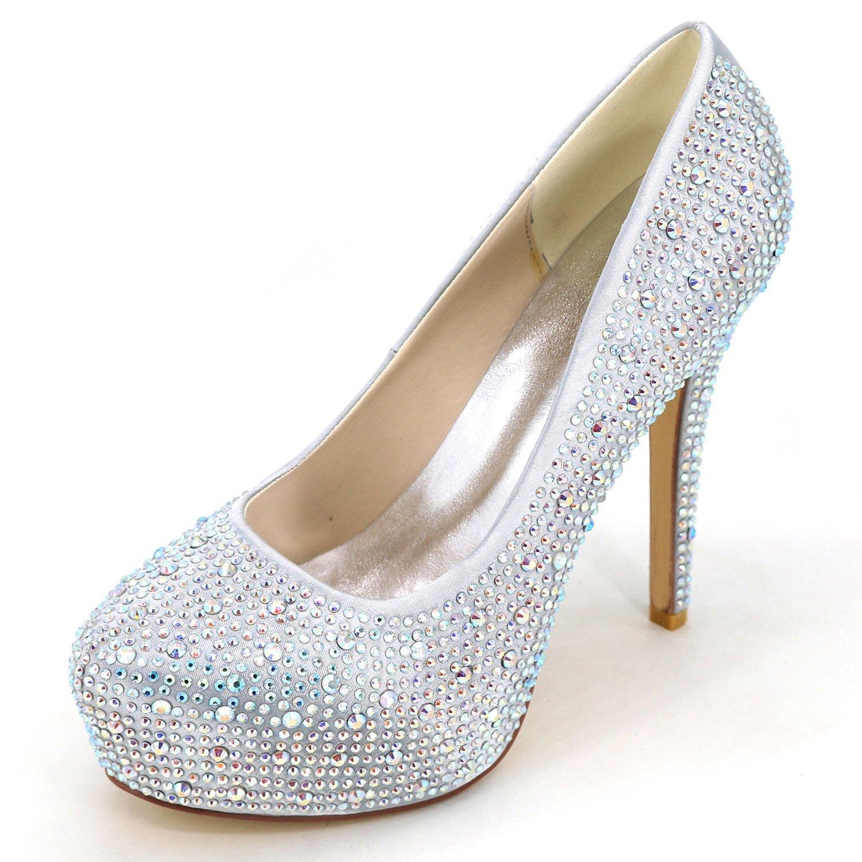 Argent Elobaby Femmes Chaussures De Mariage Strass Chunky Strass Bout fermé Pointe Ronde Ivoire Talons Hauts Talon de 12.5cm 36 EU