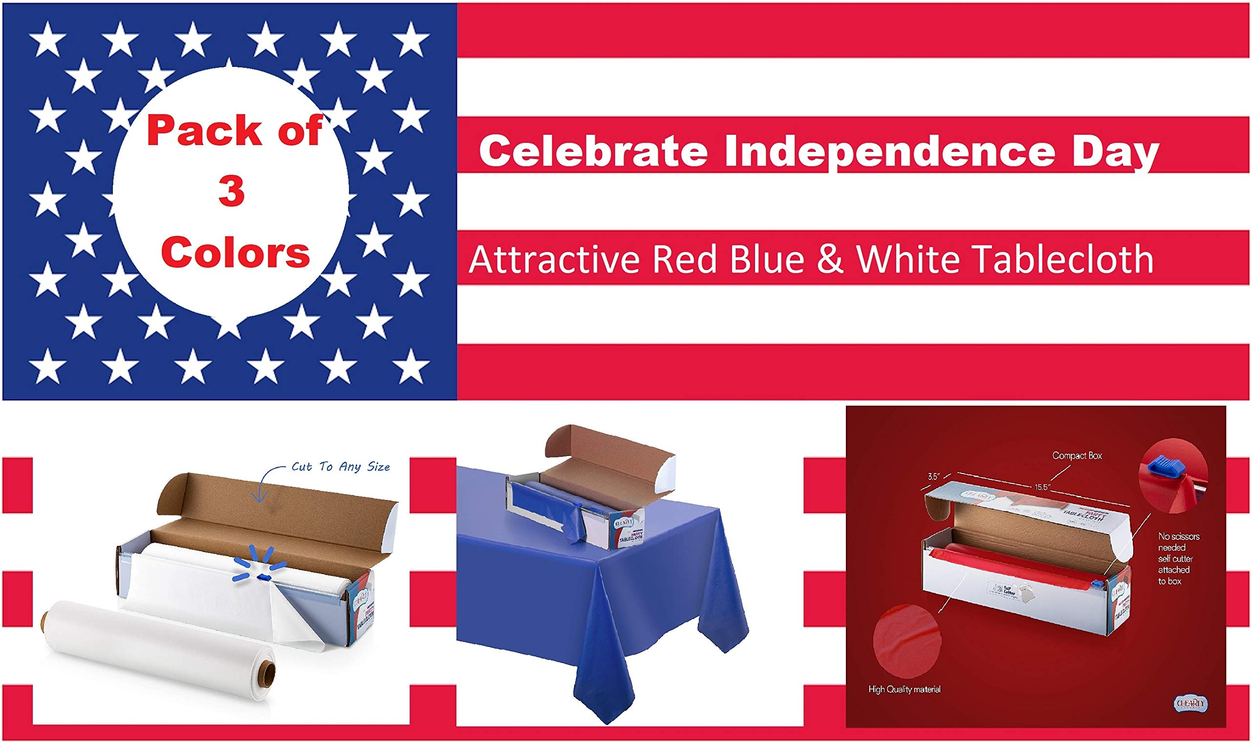 [3 Rolls] Patriotic Red, White, Blue Solid Plastic Tablecloth Rolls, Over 300 Feet. Perfect for July 4 'th Freedom Independence Day USA American Flag Theme Party or for Camping, Picnic, BBQ