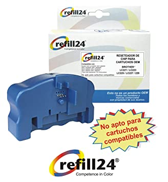 Reseteador de Chips para Cartuchos de Tinta Brother LC-221, LC-223, LC-225XL, LC-227XL, LC-229XL Negro y Color