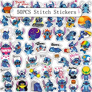 50Pcs/Set Classics Lilo Stitch Cute Cartoon Stickers Scrapbooking Stickers for Luggage Laptop Notebook Car Motorcycle Toy Phone