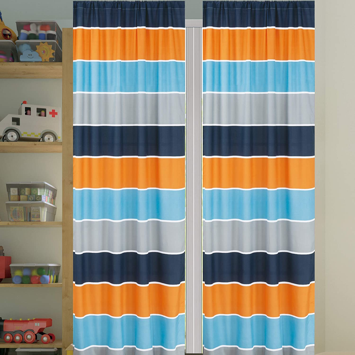 Sapphire Home 2 Panel Curtain Set, Blue Orange Gray Stripes Print Multicolor Boys Kids Girls Teen Room Décor, (Kids Stripe, Curtain)