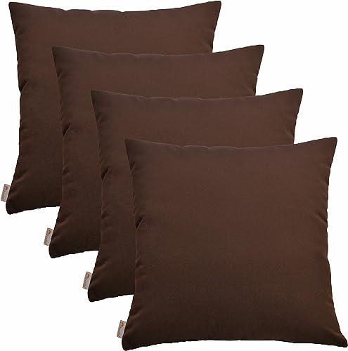 RSH D cor Set of 4 Indoor Outdoor Decorative Throw Pillows Sunbrella Bay Brown – 17 x 17