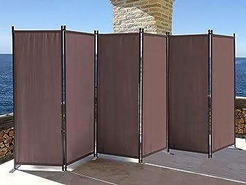 quick star paravent 6 teilig 340x165cm stoff raumteiler garten trennwand balkon sichtschutz stellwand faltbar taupe